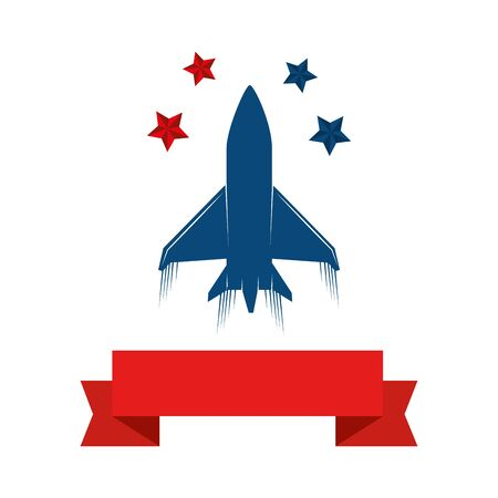 us army plane with stars with ribbon isolated icon vector illustration design
