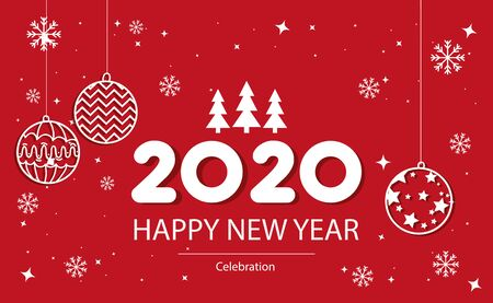 poster of happy new year 2020 with balls hanging vector illustration design