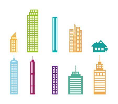 bundle of buildings facades isometric style vector illustration design Illustration