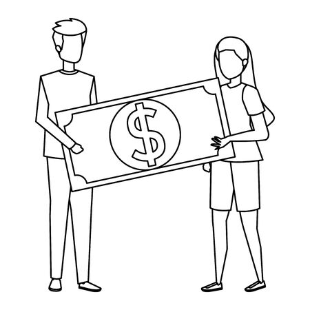 young couple lifting bill money dollar characters vector illustration design Illusztráció