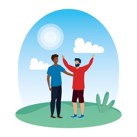 interracial young men friends celebrating in the park vector illustration design