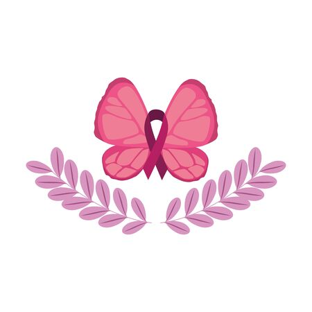 butterfly with ribbon of the fight cancer against breast vector illustration design Illustration