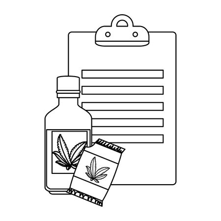cannabis seeds bag with bottle and checklist vector illustration design Foto de archivo - 134525453