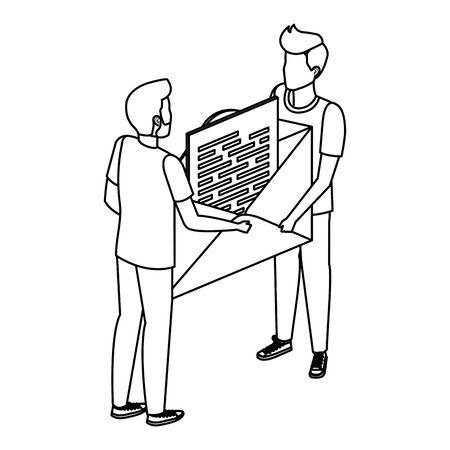 young men lifting envelope mail send vector illustration design