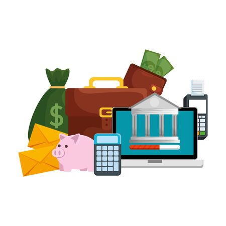 laptop with voucher machine and ecommerce icons vector illustration design Vettoriali