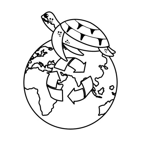 turtle with world planet and arrows recycle vector illustration design Ilustração