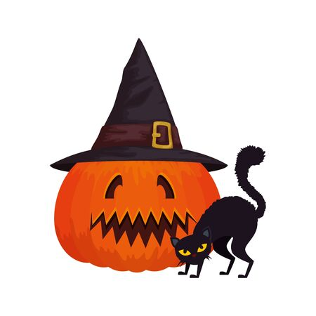 halloween pumpkin with hat witch and cat black vector illustration design