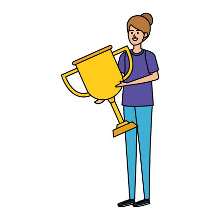 young woman lifting trophy cup award vector illustration design