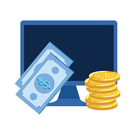 coins and bills money dollars with desktop vector illustration design