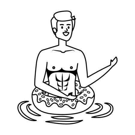 young man with swimsuit and float donut vector illustration design Ilustração