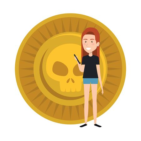young woman with mexican coin vector illustration design