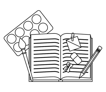 school textbook with education supplies vector illustration design Illustration