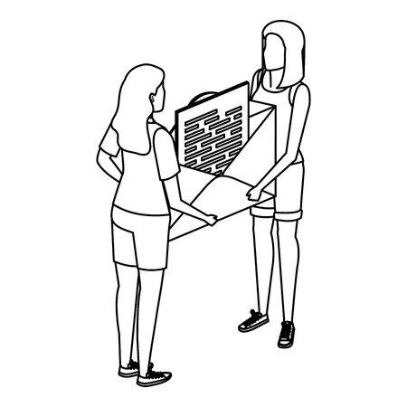 young women lifting envelope mail send vector illustration design