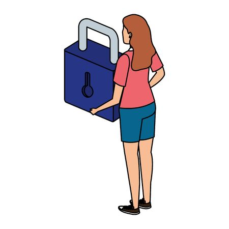woman lifting safe secure padlock vector illustration design Illusztráció