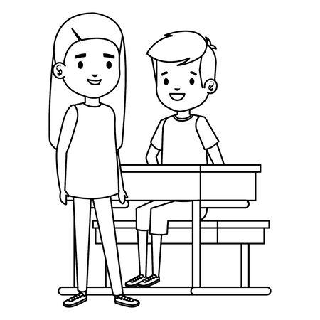 cute little students couple in school desk vector illustration design
