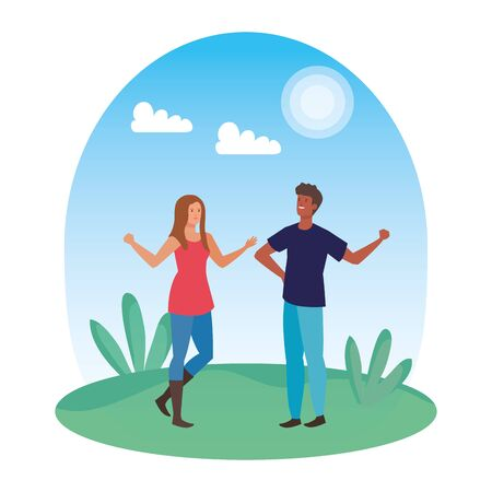 young interracial lovers couple in the landscape vector illustration design Illustration