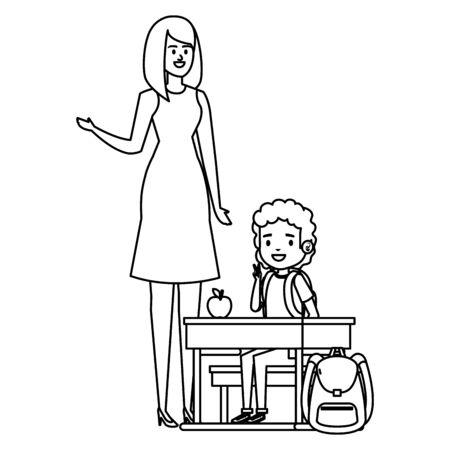 student boy seated in school desk with female teacher vector illustration design