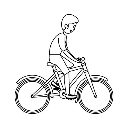 happy athletic boy ride bike vector illustration design Illustration