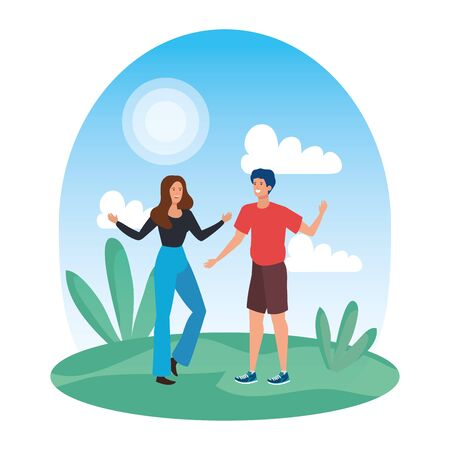 young lovers couple celebrating in the park vector illustration design Illustration