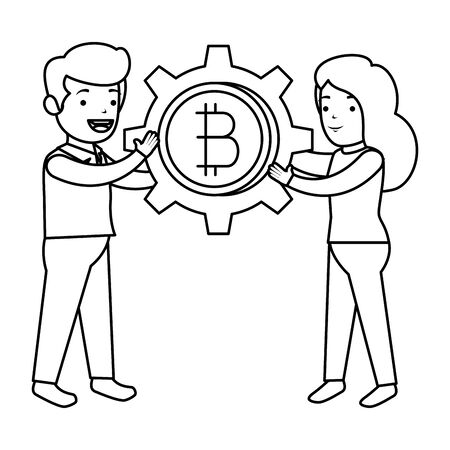 business people lifitng bitcoin vector illustration design