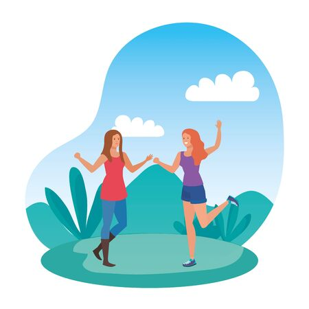 young girls friends celebrating in the park vector illustration design