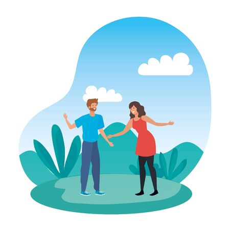 young lovers couple in the landscape vector illustration design