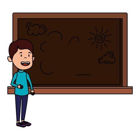 happy student boy drawing in chalkboard vector illustration design