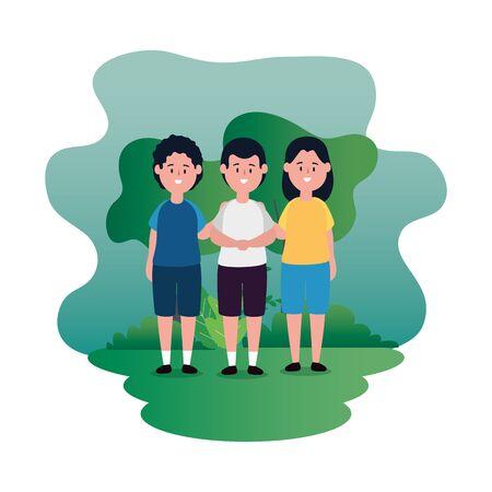 little kids group on the park scene vector illustration design
