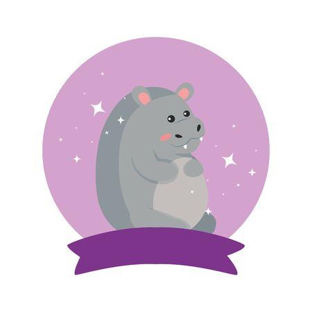 Hippo cartoon design, Animal cute zoo life nature and fauna theme Vector illustration