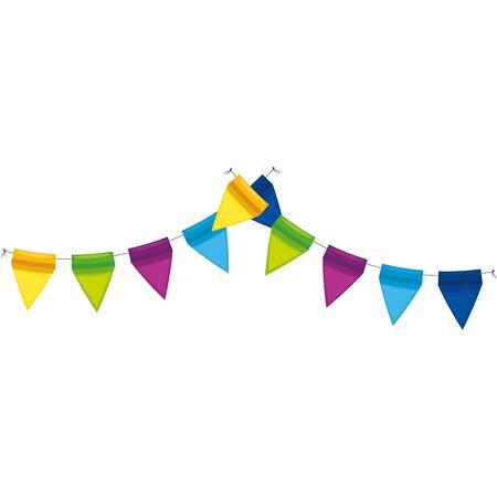 Diseño de banderín de banner, fiesta feliz cumpleaños celebración del festival decoración navideña disfrute y entretenimiento tema ilustración vectorial