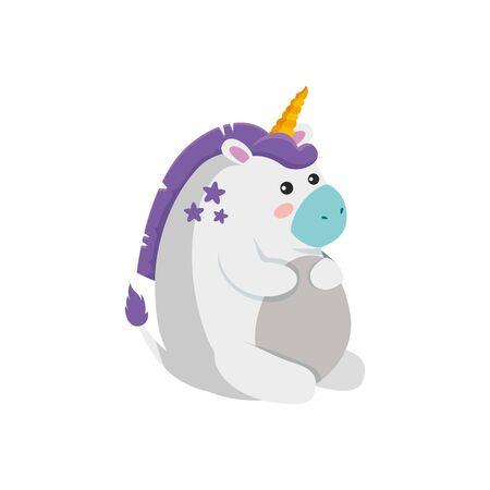 White unicorn cartoon design, Magic fantasy fairytale female and childhood theme Vector illustration