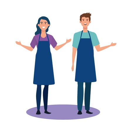 seller man and woman design, shop store market shopping commerce retail buy and paying theme Vector illustration 向量圖像