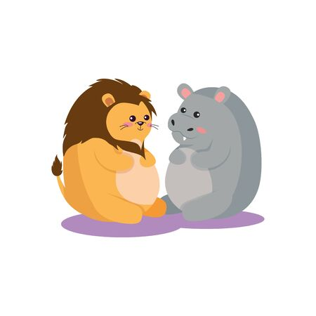 Lion and hippo cartoon design, Animal cute zoo life nature and fauna theme Vector illustration