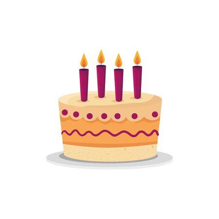 Diseño de pastel, celebración de feliz cumpleaños decoración fiesta festiva y tema sorpresa ilustración vectorial