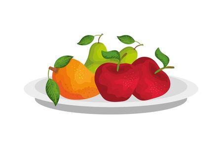 Plate design, Fruit healthy organic food sweet and nature theme Vector illustration Illustration