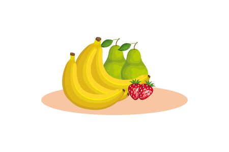 bananas pears and strawberries design, Fruit healthy organic food sweet and nature theme Vector illustration Illustration