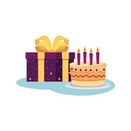 Conception de gâteaux et de cadeaux, fête de décoration de joyeux anniversaire, thème festif et surprise, illustration vectorielle