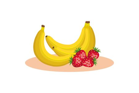bananas and strawberries design, Fruit healthy organic food sweet and nature theme Vector illustration