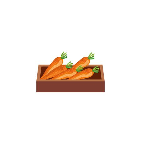 healthy vegetable in wooden box isolated icon vector illustration design