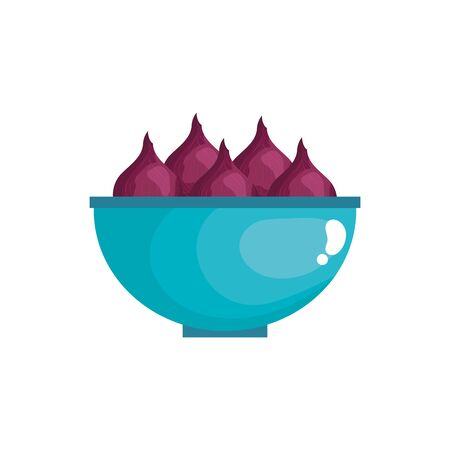 onion vegetables in bowl isolated icon vector illustration design Illustration