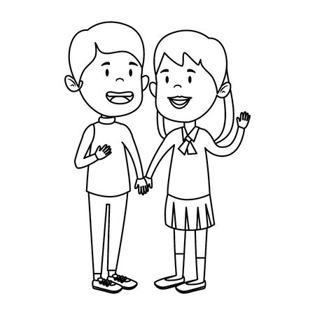 happy little students couple characters vector illustration design Illustration