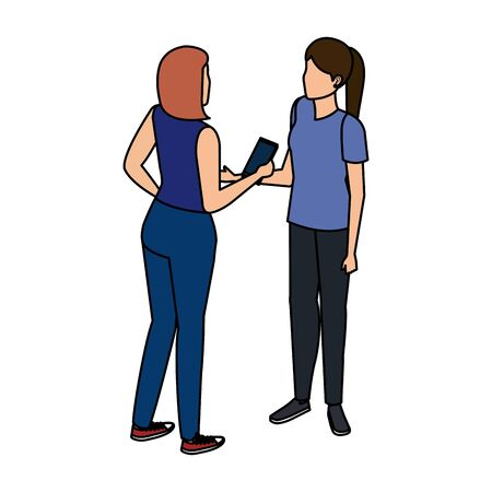 young women couple talking with smartphone vector illustration design