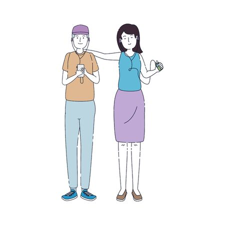 young couple friends listen music with player vector illustration design