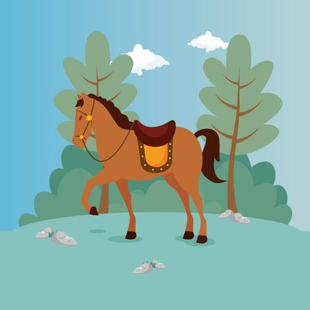 horse of prince in landscape vector illustration design 일러스트