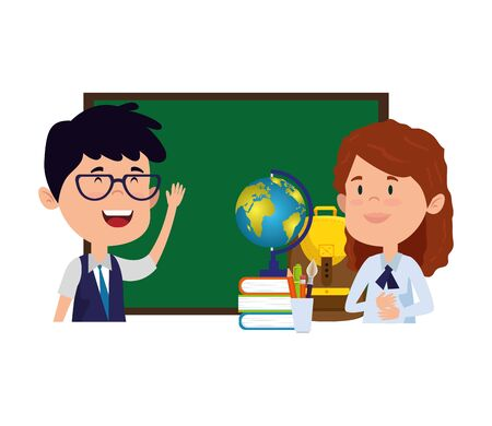 students couple with chalkboard and world map vector illustration design Illustration