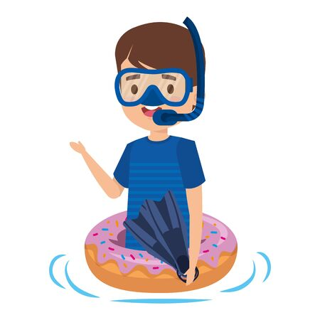 cute little boy with donut float and snorkel vector illustration design