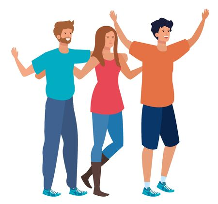 young friends people celebrating characters vector illustration design
