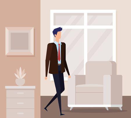 elegant businessman worker in the livingroom vector illustration design Ilustração