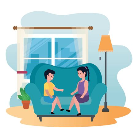 little kids couple seated in sofa vector illustration design Ilustração
