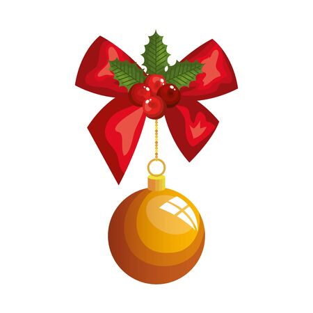 ball christmas hanging with bow decoration vector illustration design